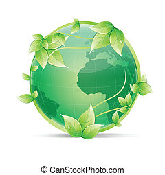 global ecology - illustration of creeper around globe on an ...