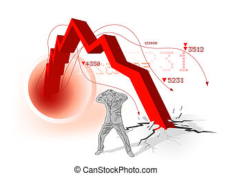 Conceptual image of a upset businesman with profits 'smashing' to the ground. Vector illustration.