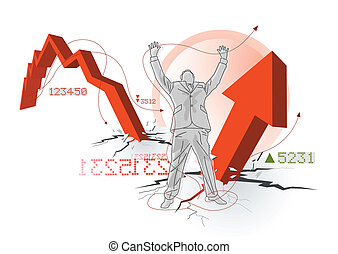 Business concept. Cheering businessman over rising profits. Vector illustration