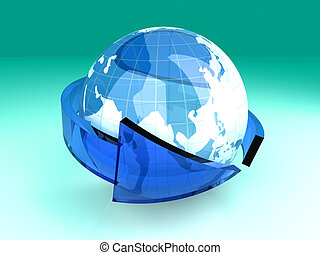Global Economy - 3D rendered Illustration. Symbol for the...