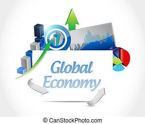 global economy business chart sign concept illustration...