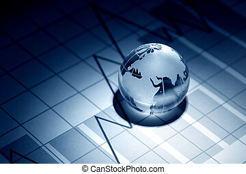 Global Economy - Business concept. Glass globe on background...
