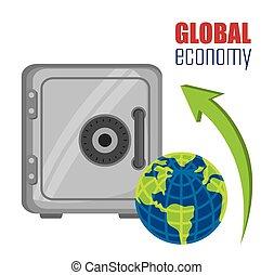Global economy and market design, vector illustration.