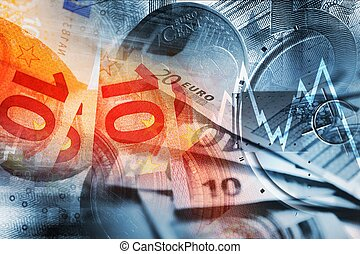 Global Economy Concept. Euro Banknotes, Coins and Line...