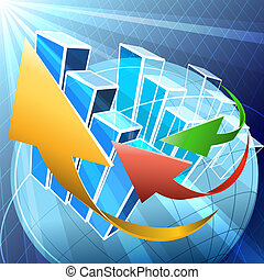 Global economy - Illustration with arrows and charts over...