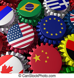 Global economy machine with U.S.A and Europe in the center -...
