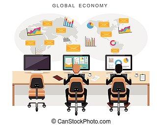 Global economy or world economy. Business people monitoring international economy.