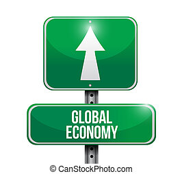 global economy road sign concept
