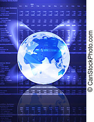 Global Economy - A blue Earth over a data background