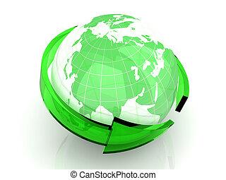Global Economy - 3D rendered Illustration. Symbol for the...