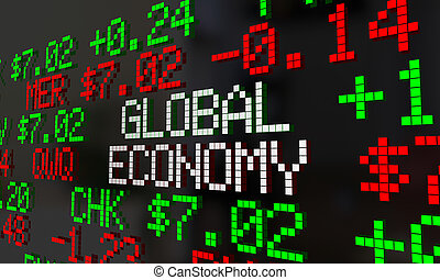 Global Economy Stock Market Ticker Trading 3d Illustration