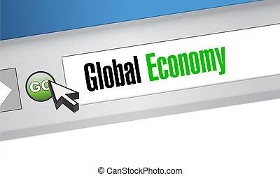 global economy website sign concept