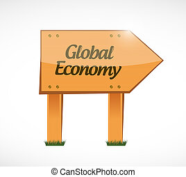 global economy wood sign concept