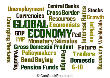 Global Economy word cloud on white background