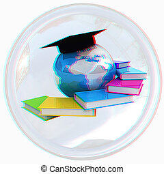 Global Education button. Anaglyph. View with red/cyan glasses to see in 3D. 3D illustration