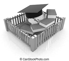 Global education concept in closed colorfull fence. Concept educ