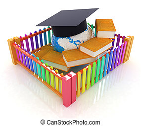 Global education concept in closed colorfull fence. Concept education protection on a white background