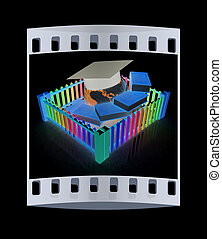 Global education concept in closed colorfull fence. Concept education protection. The film strip
