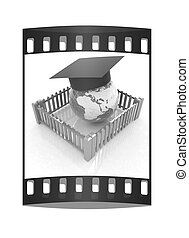 Global education concept in closed colorfull fence. Concept education protection . The film strip