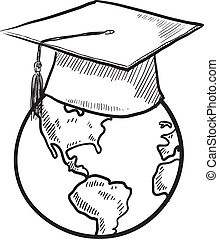 Global education vector - Doodle style global graduation...