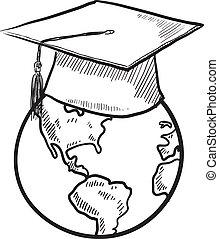 Global education vector - Doodle style global graduation ...