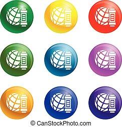 Global energy icons set vector