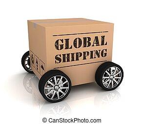global, envío, caja de cartón