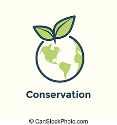 Global environmental conservation icon w earth and leaf icon