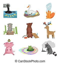 Global environmental problems set, pollution of water, earth, deforestation, destruction of animals, ecological disasters vector Illustration