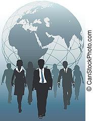 global, equipe, emergent, negócio mundo, recursos