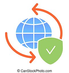 Global exchange flat icon. Planet with shield color icons in trendy flat style. World globe and tick gradient style design, designed for web and app. Eps 10.