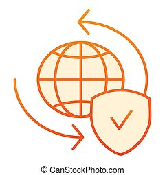 Global exchange flat icon. Planet with shield orange icons in trendy flat style. World globe and tick gradient style design, designed for web and app. Eps 10.