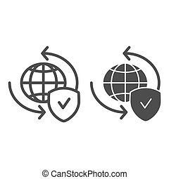 Global exchange line and glyph icon. Planet with shield vector illustration isolated on white. World globe and tick outline style design, designed for web and app. Eps 10.