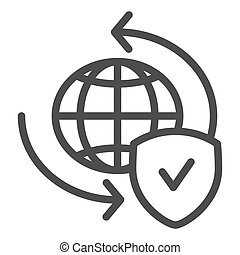 Global exchange line icon. Planet with shield vector illustration isolated on white. World globe and tick outline style design, designed for web and app. Eps 10.