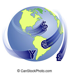 Global exchange - Rasterized vector drawing of a globe with...
