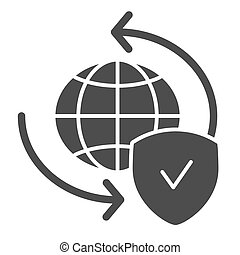 Global exchange solid icon. Planet with shield vector illustration isolated on white. World globe and tick glyph style design, designed for web and app. Eps 10.