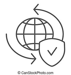 Global exchange thin line icon. Planet with shield vector illustration isolated on white. World globe and tick outline style design, designed for web and app. Eps 10.
