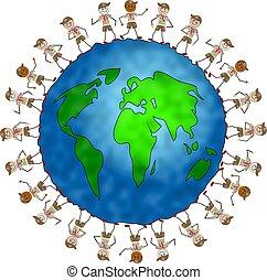 global, explorador, niños