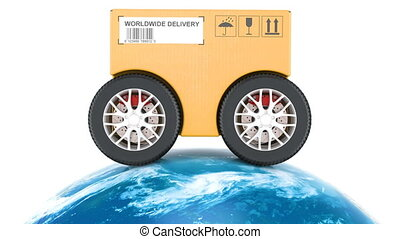 Global fast delivery concept, animation. 3D rendering isolated on white background