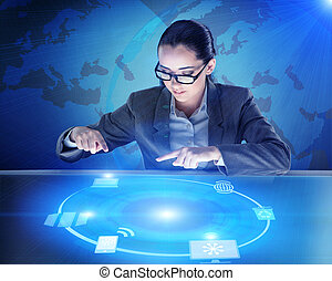 global, femme affaires, concept, calculer