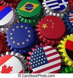 Global finance and trade - Global world economy machine with...