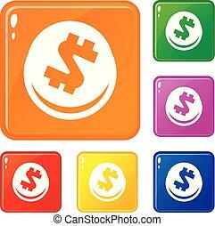 Global finance circle icons set vector color