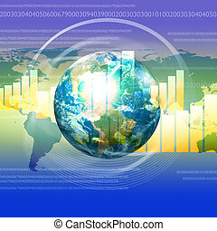 Global financial color charts and graphs