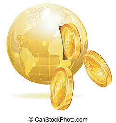 Global Financial Concept with Money Bitcoins and Earth,...