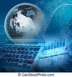 global, financier, couleur, diagrammes, et, graphiques