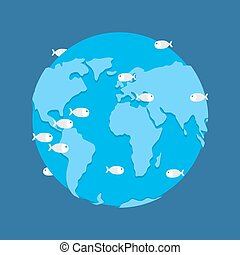 Global Flood. Planet earth under water. disaster apocalypse
