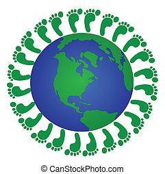 global footprints - green footprints around the globe