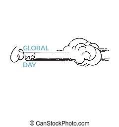 global, freigestellt, abbildung, vektor, weißes, tag, wind