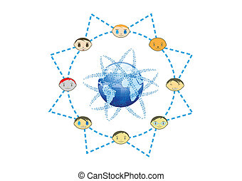 Global Friends Network Sun Concept Illustration in Vector
