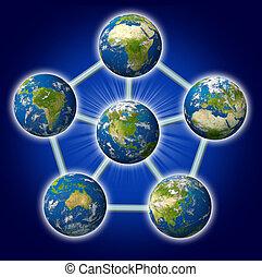 global, gestion réseau, depuis, amérique nord, à, monde